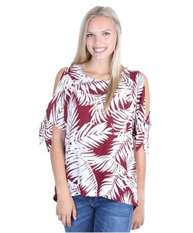 Escapada Alyssa Cold Shoulder Tropics Top - Maroon/White - Front Maroon/White