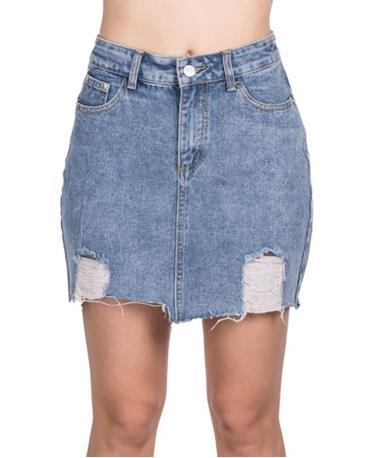 Cutting Denim Mini Skirt - Front Denim
