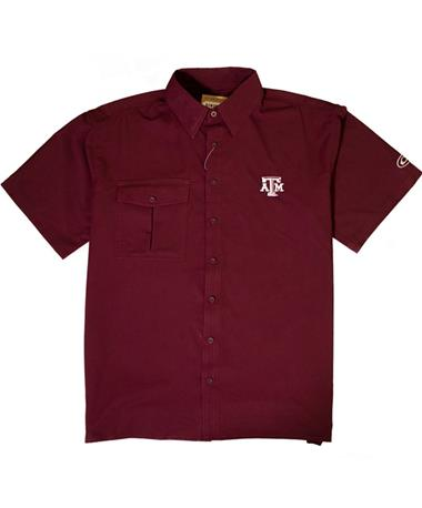 Texas A&M Drake Flyweight Short Sleeve Button Down - Laid Flat Maroon