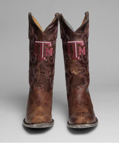 Texas A&M Aggie Mens Boardroom Boots Front Brown