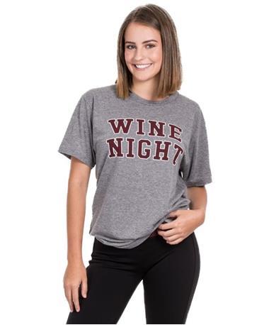 Friday+Saturday Wine Night Grey T-Shirt Grey