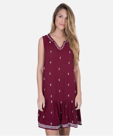 Joy Joy Maroon Drop Waist Aztec Dress - Front Maroon