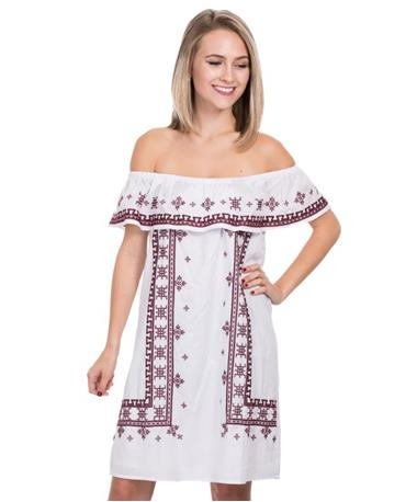 Joy Joy EMB Off Shoulder Peasant Dress - White - Front White