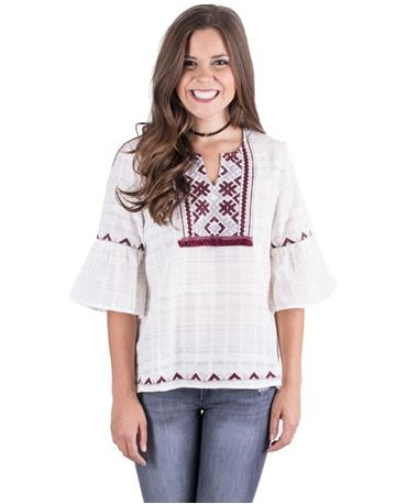 Aztec Embroidered Peasant Top White Front White