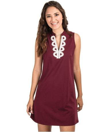 Maroon Flow Dress with Trim Maroon