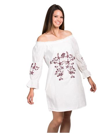 Joy Joy Off The Shoulder Embroidered Dress - White - Front White