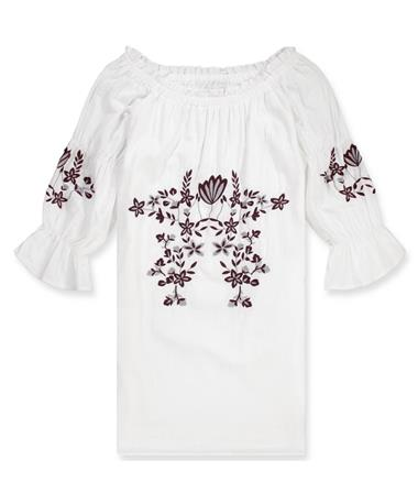 Joy Joy Off The Shoulder Maroon Embroidered Dress - Front White