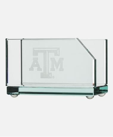 Texas A&M Glass Business Card Holder - Front Glass