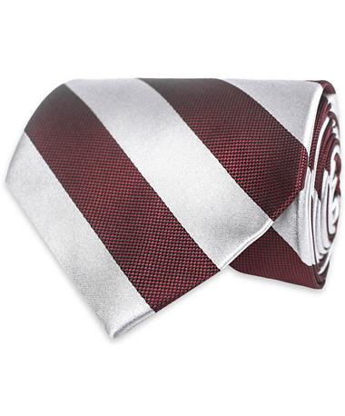 Maroon & Grey Striped Tie Maroon/Grey