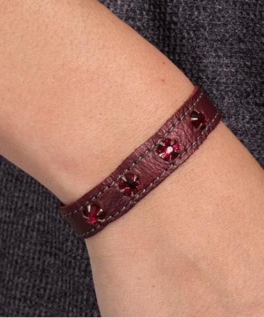 Stacker Cuff with Rhinestones - Maroon Multi