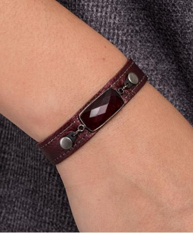 Stacker Cuff with Stones - Maroon Maroon