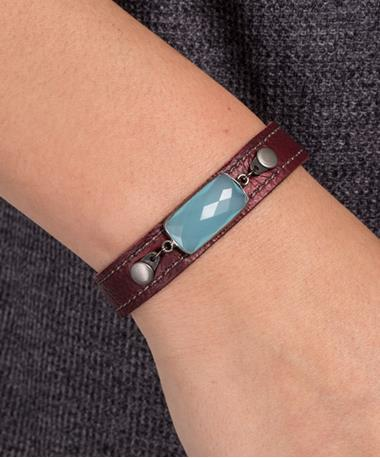 Stacker Cuff with Stones - Maroon/Turquoise Turquoise