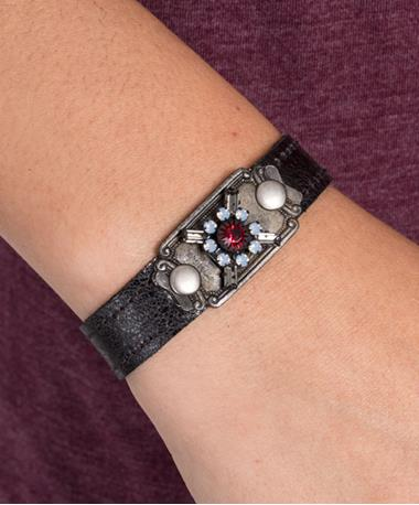 Stacker Cuff with Vintage Stones Black