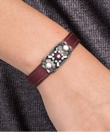 Stacker Cuff with Vintage Stones Maroon