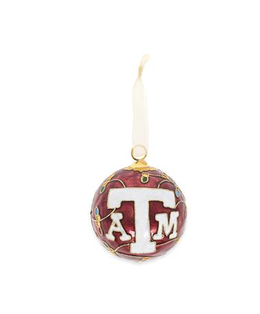 Texas A&M Kitty Keller Lights All Over Ornament - Maroon - Front Maroon