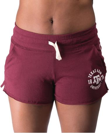 Texas A&M Womens Clothesline Cotton Shorts- Front Maroon