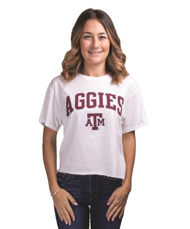 Texas A&M Clothesline Cotton Printed Tee White