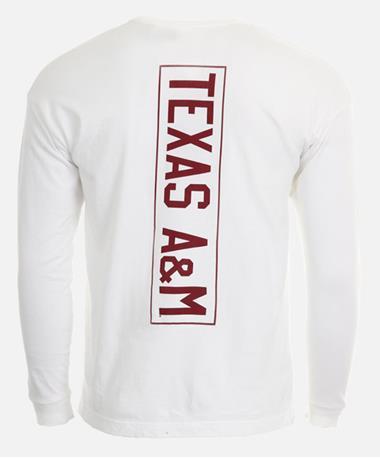 League Texas A&M Campus Long Sleeve Pocket T-Shirt - Back White