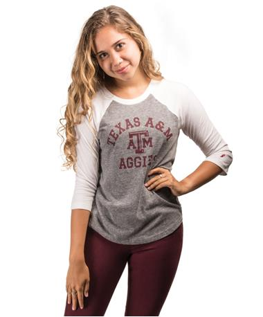 Texas A&M Women`s Intramural Baseball T-Shirt - Front Grey