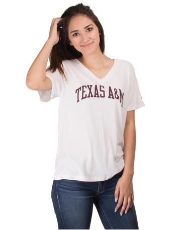 Texas A&M Women`s Intramural Boyfriend V Neck T-Shirt Front White