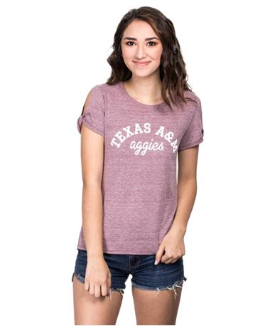 Texas A&M Womens PHYS ED Open Sleeve T-Shirt - Front Maroon