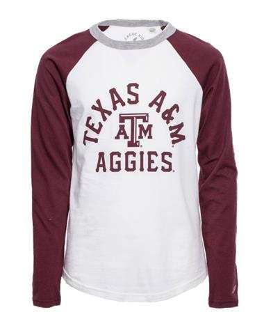 League Texas A&M Boys Long Sleeve Baseball Tee - Front White/Maroon