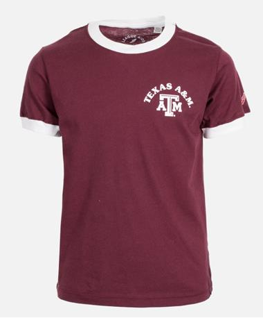 League Texas A&M Girls Camp Ringer Tee - Front Maroon
