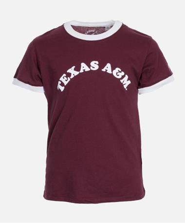 League Texas A&M Girls Camp Ringer Tee Maroon