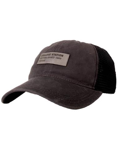 College Station Texas Dashboard Trucker Black