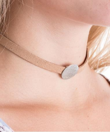 Tan Hope Choker with Circle Pendant