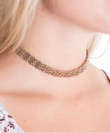Metal Linked Choker - Gold Gold