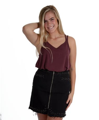 Dex Studded Black Skirt Black