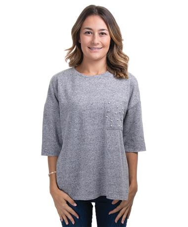 Dex Soft Grey Quarter Sleeve Sweater - Front Soft Grey