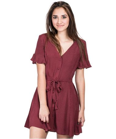 Polka Dot Dress with Tie - Maroon - Front Maroon