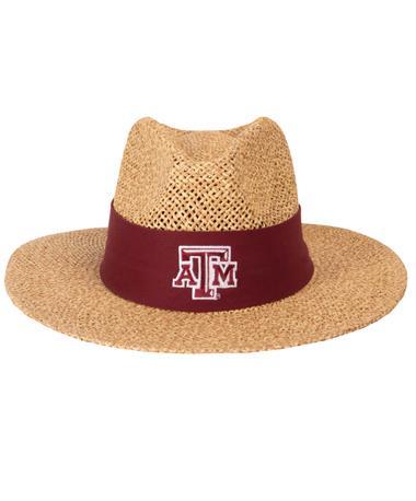 Texas A&M Aggie Safari Straw Angler Hat Front Natural