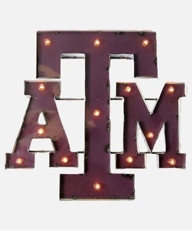 Texas A&M Metal Block ATM Sign With Lights Maroon