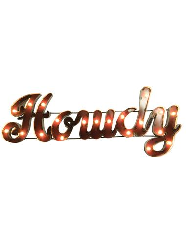 Howdy Metal Sign with Lights Maroon
