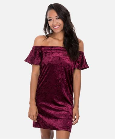 Velvet Off Shoulder Short Sleeve Dress - Burgundy - Front Burgundy