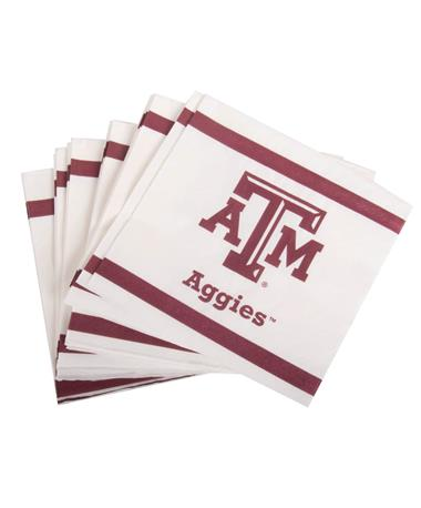 Texas A&M Aggie Beverage Napkins 24ct Maroon/White