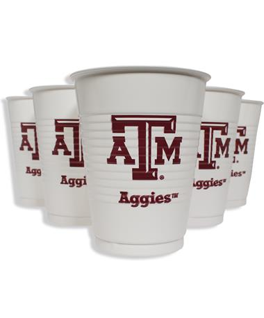 Texas A&M Aggie Disposable Plastic 14oz Cups 8ct - Unpackaged Maroon/White