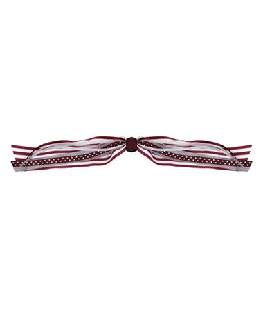 Stripe Streamer With Knot Ponytail Holder Maroon