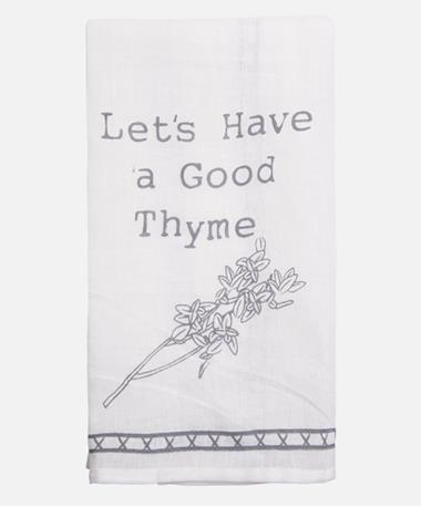 Lets Have A Good Thyme Dishtowel Maroon