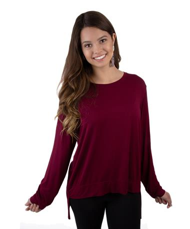 The Tie Back Sweater Top-front Maroon