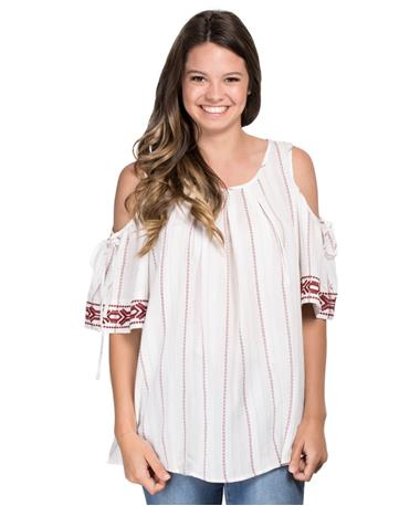 Striped Cold Shoulder Top - White/Maroon - Front White/Maroon