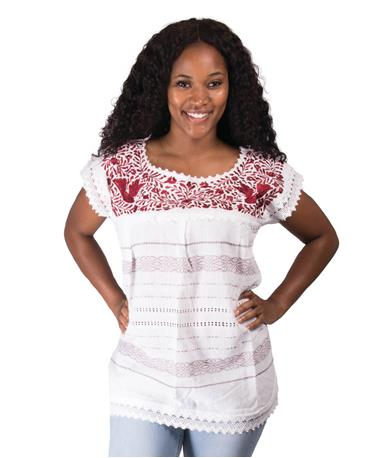 Nativa Embroidered Telar Blouse-Front White/Maroon