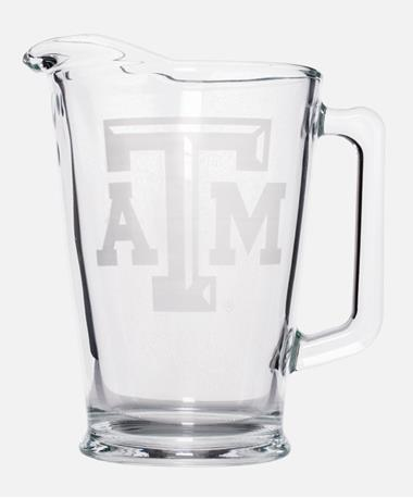 Texas A&M Bevelled Etched Glass Pitcher Clear