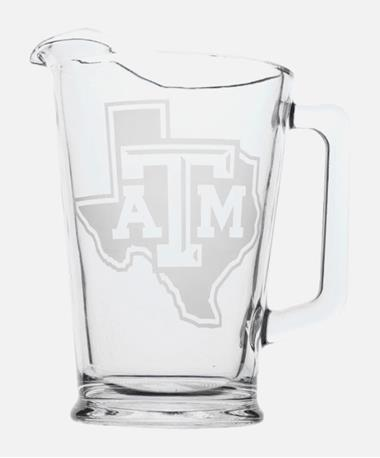 Texas A&M Lone Star Etched Glass Pitcher Clear