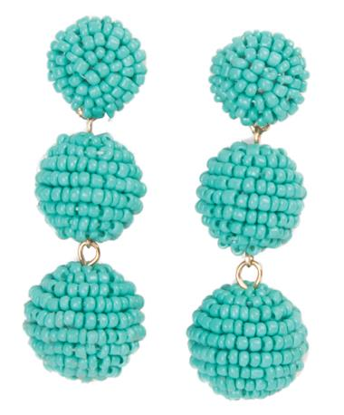 Seed Bead Ball Drop Earrings - Turquoise Turquoise