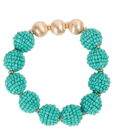 Seed Bead Ball Stretch Bracelet - Turquoise Turquoise