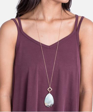 Clover Teardrop Necklace - Jet Amazonite Jet Amazonite